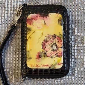 Debbie Brooks floral black leather wristlet signed